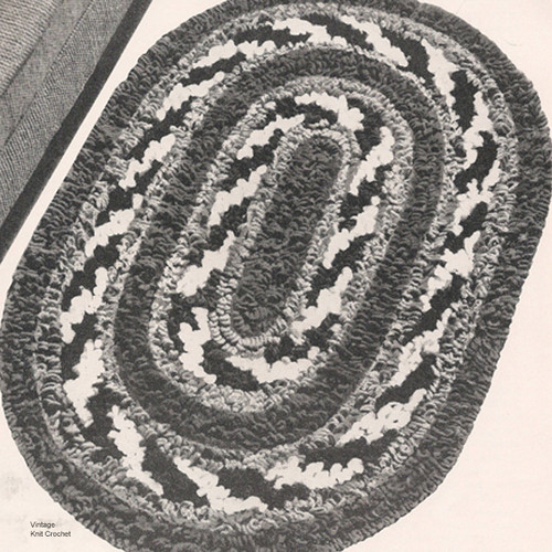 Crocheted Oval Rug Pattern in Loop Stitch