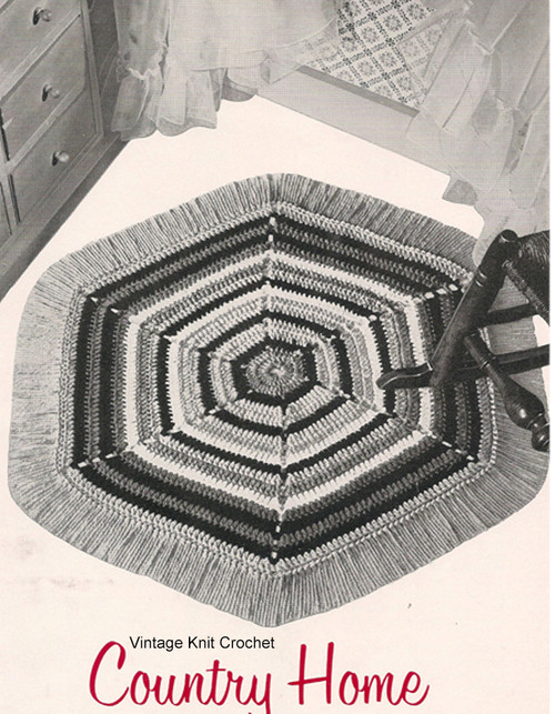 Crochet Hexagon Rug Pattern, Fringed