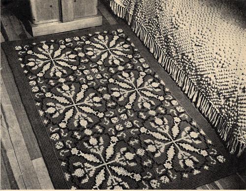 Crochet Tapestry Rug Pattern, Vintage American Thread