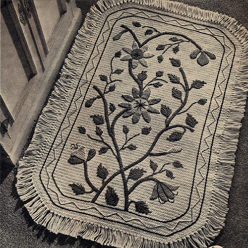 Vintage Mumdah Crocheted Rug pattern with Fringe Border