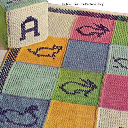 Crocheted Block Motif Childs Rug Pattern