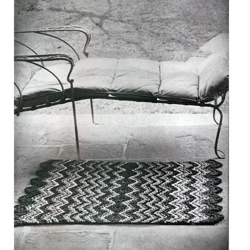 Crocheted Ripple Rug Pattern, Vintage Bucilla