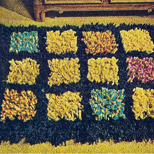 Knit Stitch Color Blocked Crochet Rug pattern