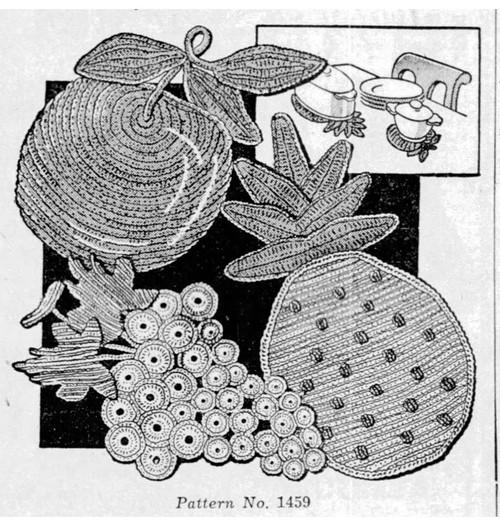 Crochet Grapes Hot Plate Mats Pattern No 1459