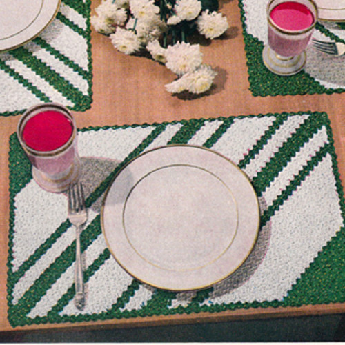 Two Color Striped Place Mats Pattern