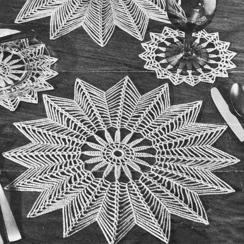 Vintage Star Shaped Table Mats Crochet pattern