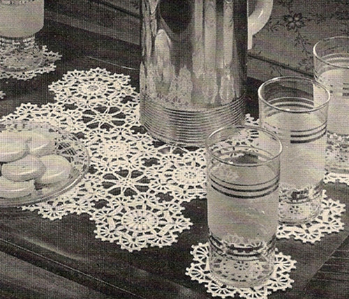 Vintage Crochet Glass Mats Pattern Set