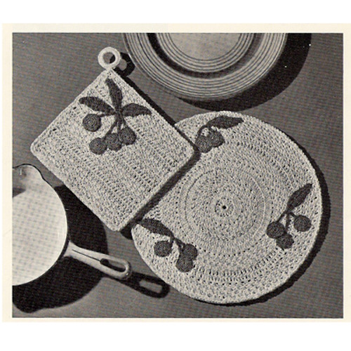 Vintage Crocheted Cherry Hot Plate Mat Pattern