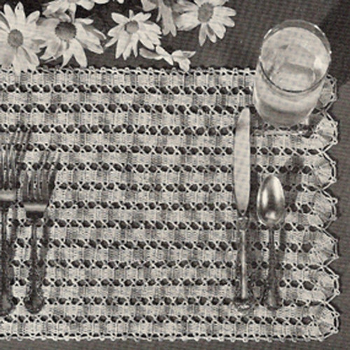 Shaded Lattice Vintage Crochet Placemats Pattern