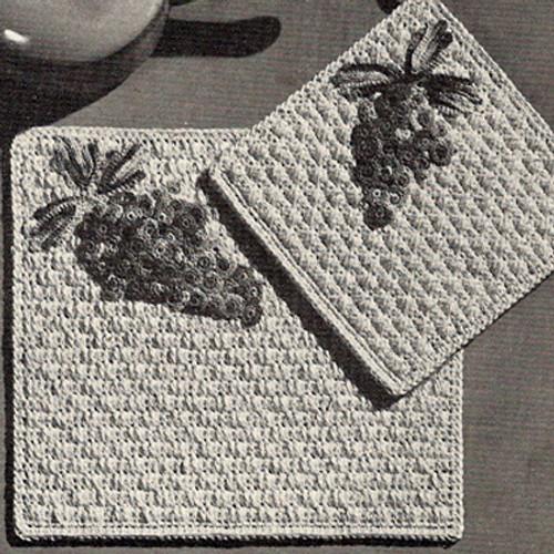 Vintage Crochet Potholder Placemat with Grapes Motif