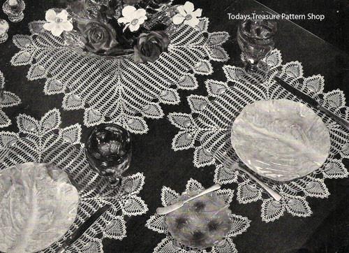 Pineapple Crocheted Mats Pattern, Vintage 1950s