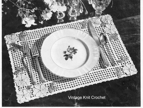 Vintage Crochet Placemat Pattern, Free Download