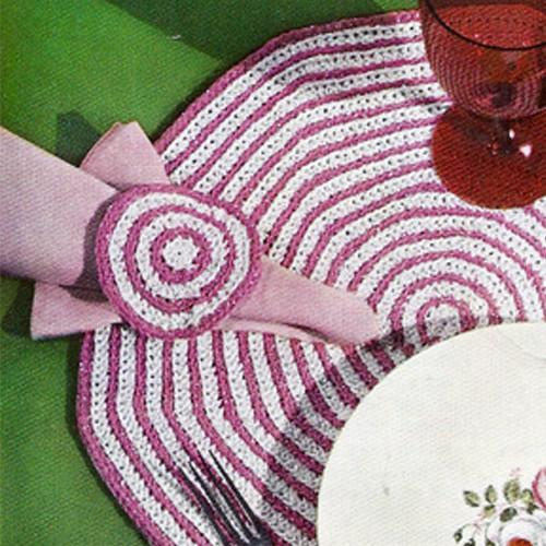 Candy Cane Crochet Mats Pattern in Hexagon Shape