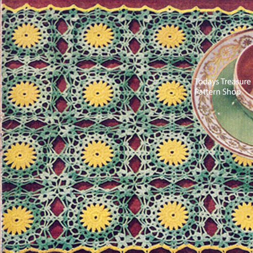 Vintage Flower Medallions Crochet Placemats Pattern