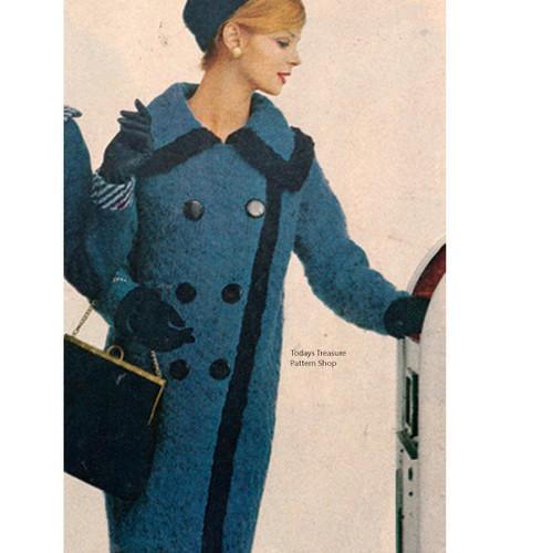 Vintage Knee Length Knitted Coat Pattern