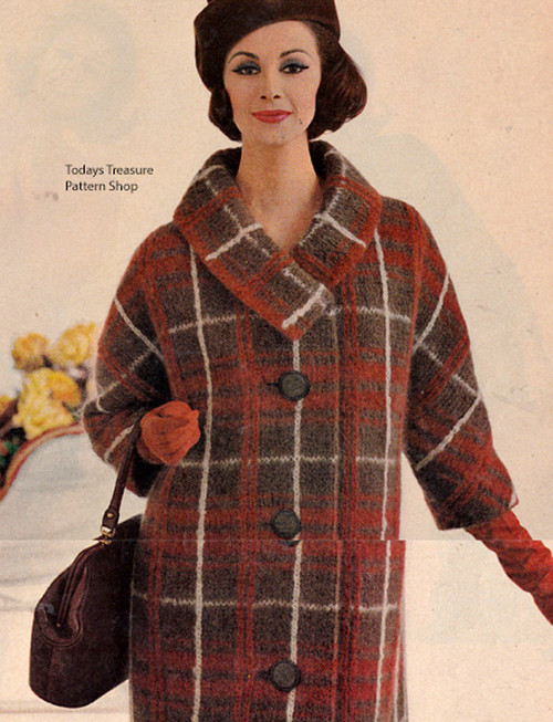 Knitted Plaid Coat Pattern, Vintage 1960s
