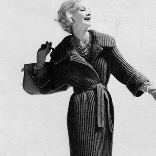 Belted Coat Knitting Pattern, Vintage 1950s