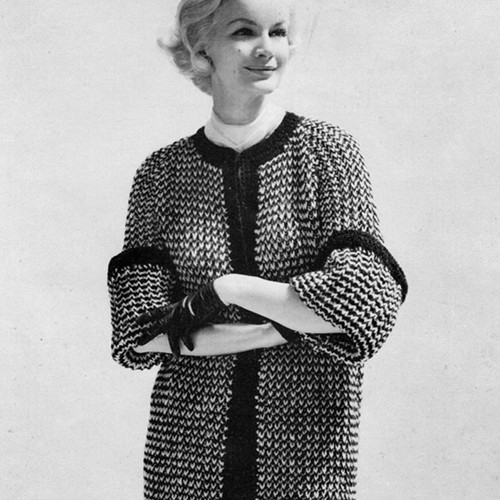 Casual Tweed Loose Fitting Coat Knitting Pattern