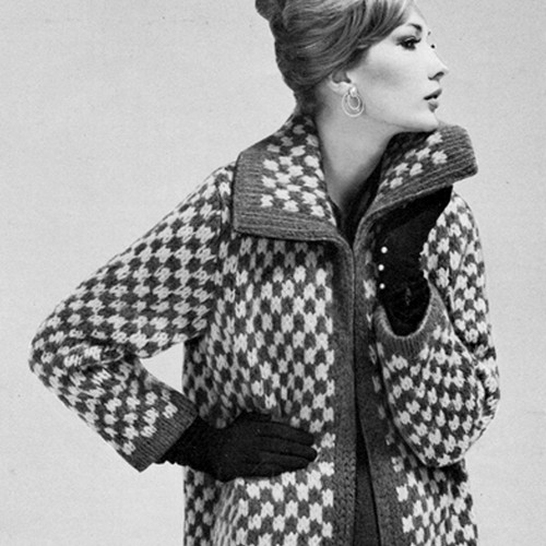 Checked Coat Knitting Pattern, Vintage 1950s