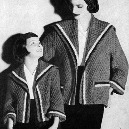 Knitting Pattern Sailor Coats Misses Girls