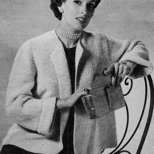 Misses Short Coat Knitting Pattern with Collar