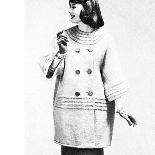 Vintage Knitting Pattern for Double Breasted Coat