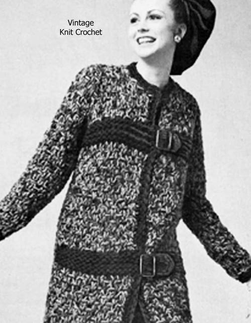 Easy Knit Tweed Coat Pattern, Vintage Big Needle