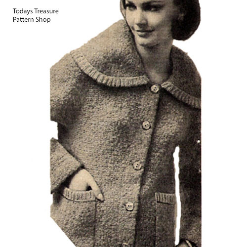 Knitted Large Collar Coat Pattern with patch pockets