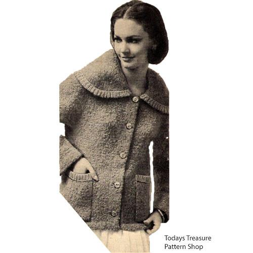Large Collar Coat Knitting Pattern