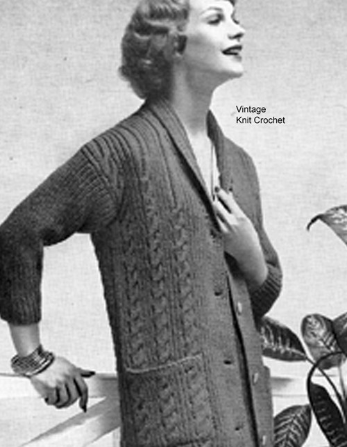 Cable Sweater Knitting Pattern, Knee Length