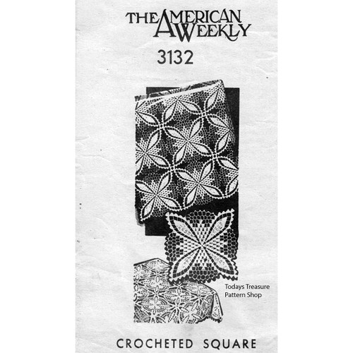 American Weekly 3132, Crochet Square Pattern