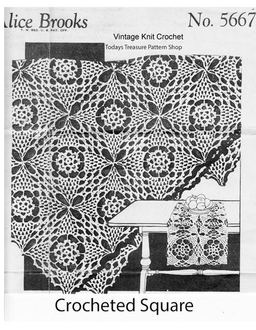 Crochet Pineapple Runner Pattern, Alice Brooks 5667