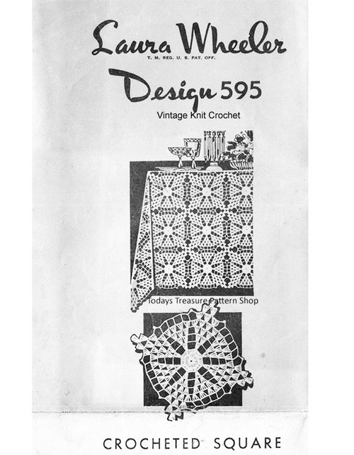 Crochet Tablecloth Pattern, Flower Squares, Mail Order 595