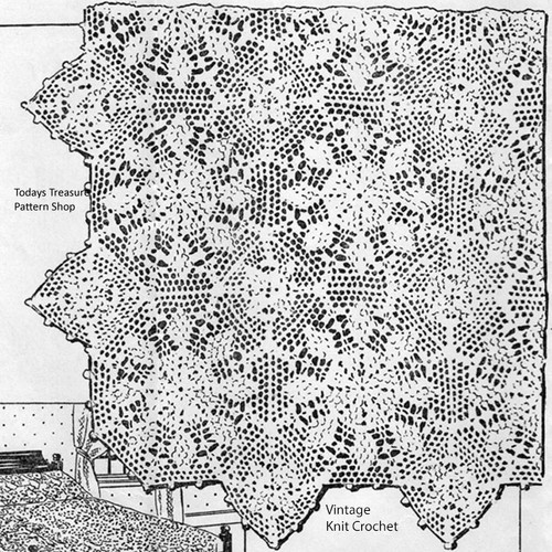 Crochet Star Bedspread Pattern, Mail Order Designs 5202