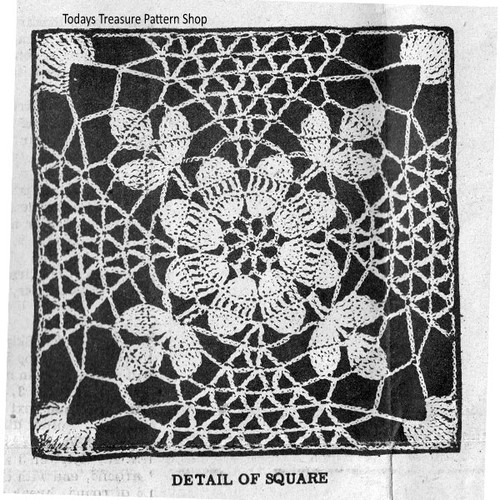 Vintage Crochet Flower Square Pattern for Bedspreads