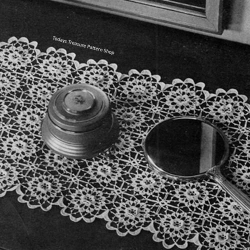Vintage Flower Medallion Crochet Scarf Pattern, Vintage 1950s