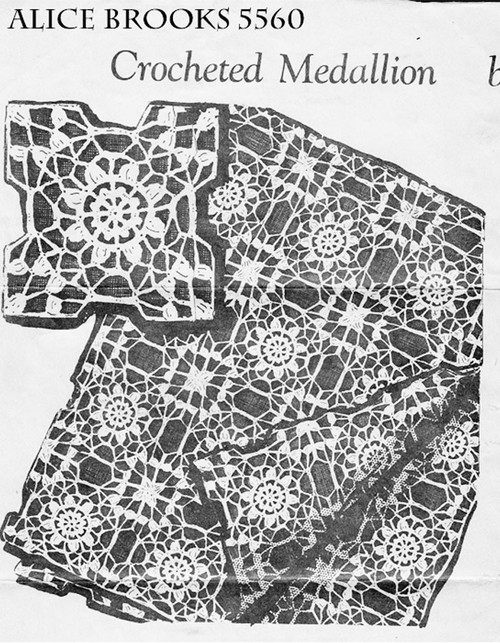 Crochet Lace Medallion Pattern, Tablecloth Bedspread, Alice Brooks 5560