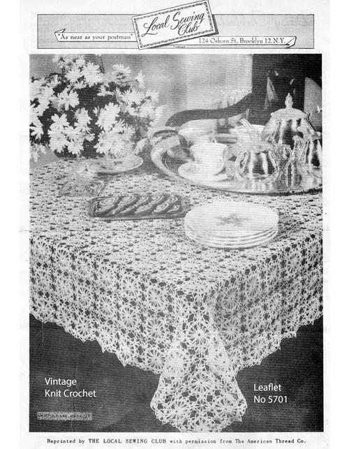 Daisy Squares Crochet Tablecloth Pattern No 5701