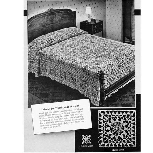 Vintage Crochet Bedspread in Medici Star Blocks