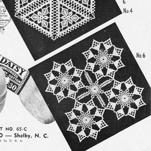 Crochet Star Squares Pattern, Vintage 1950s