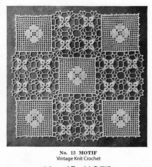 Crocheted Clover and Lace Block Motif Pattern for Spreads and Cloths
