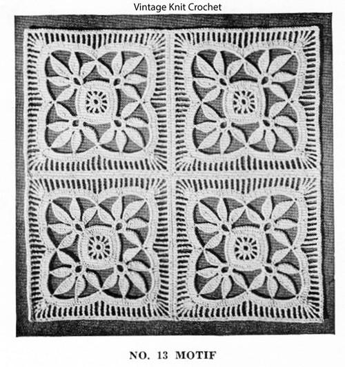 Flower Crochet Square Pattern, Bedspread