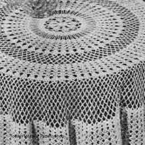 Vintage Workbasket Crochet Round Tablecloth Pattern