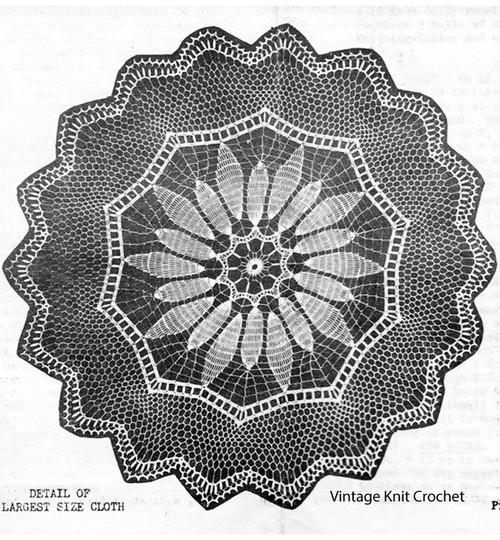 Vintage Round Crochet Tablecloth Pattern No 1837