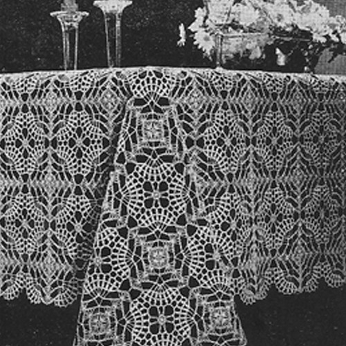 Oblong Medallion Tablecloth Crochet Pattern, Vintage 1950s
