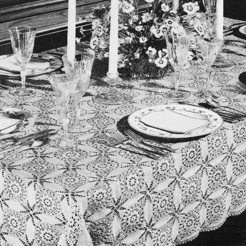 Vintage Crochet Petal Squares Tablecloth Pattern