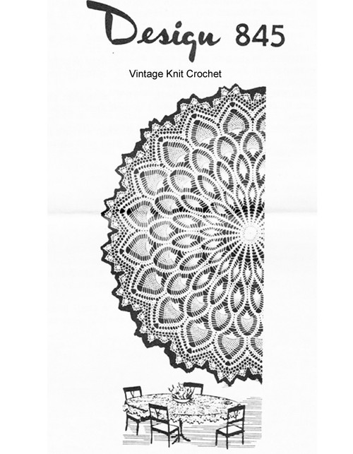 Round Crochet Tablecloth pattern, Mail Order 845