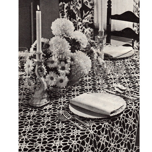 Crochet Snowflake Tablecloth Pattern, Vintage 1960s