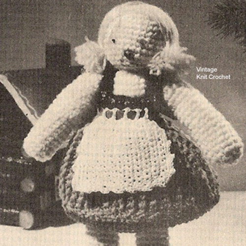 Crocheted Swiss Girl Doll Pattern, Vintage 1950s, National Needlecraft