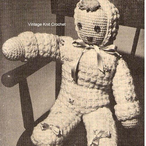 Vintage Crochet Doll Pattern Leaflet PC 4517 from National Needlecraft Bureau